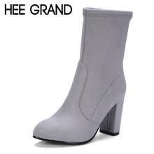 Winter Damen Sexy Elegant High Heels Overknee Stiefel Boots CN 37 Grau Hee Grand ujelAi1JM
