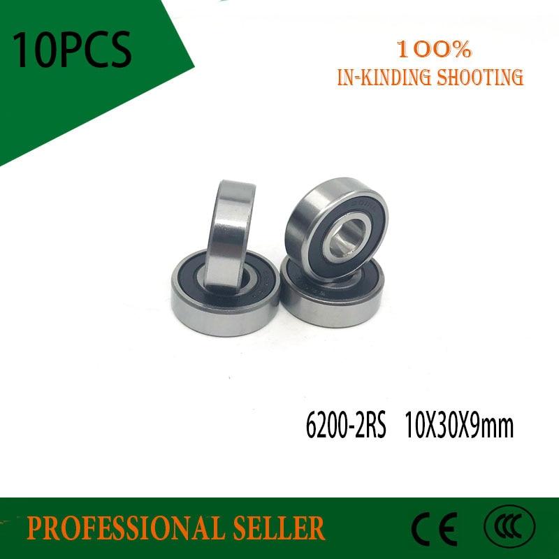 Free Shipping 10PCS 6200-2RS  10X30X9mm ABEC-1 Deep Groove Ball Bearings/Bike Bearings 6200 RS Bicycle Bearing
