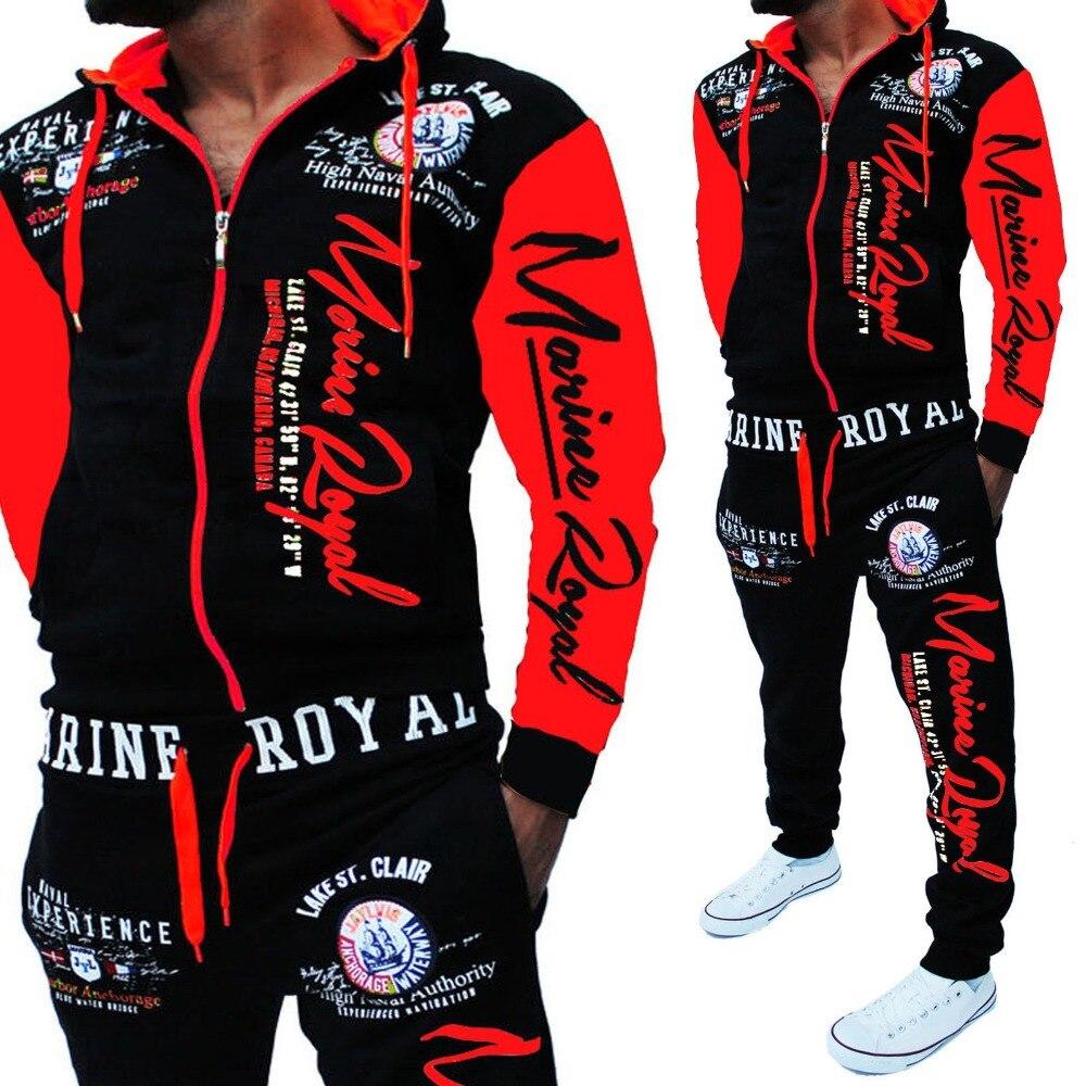 Männer Verfolgen Anzug Mit Kapuze Jacke Sweatsuit Mens Sport Anzüge marke Neue Sportwear Männer Jogger Set Gedruckt Trainingsanzug Männer Kleidung 2018