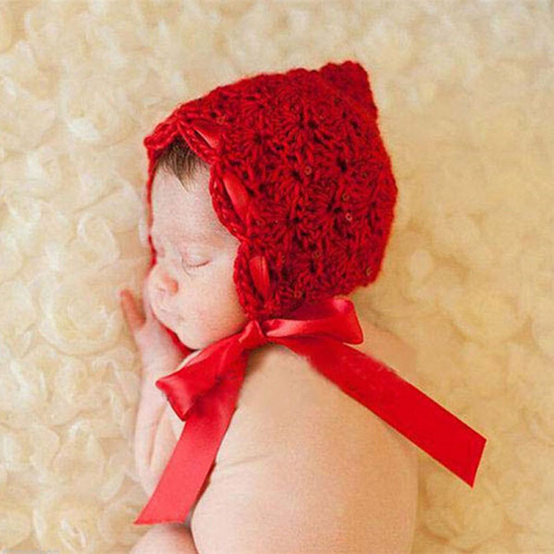 Baby Hat Red Crochet Pixie Beanie Hat Silk Ribbon Newborn Photography Prop  Hat Knitted Baby Girl Hat 1pc H163 5538a3e1e97