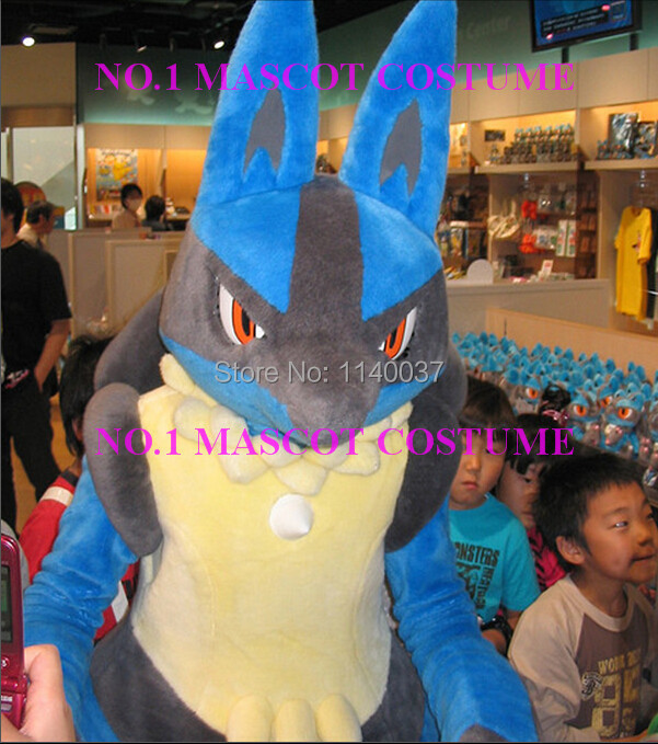 Mascotte Lucario mascotte costume poket monstre anime dessin animé personnage cosplay carnaval costume fantaisie robe