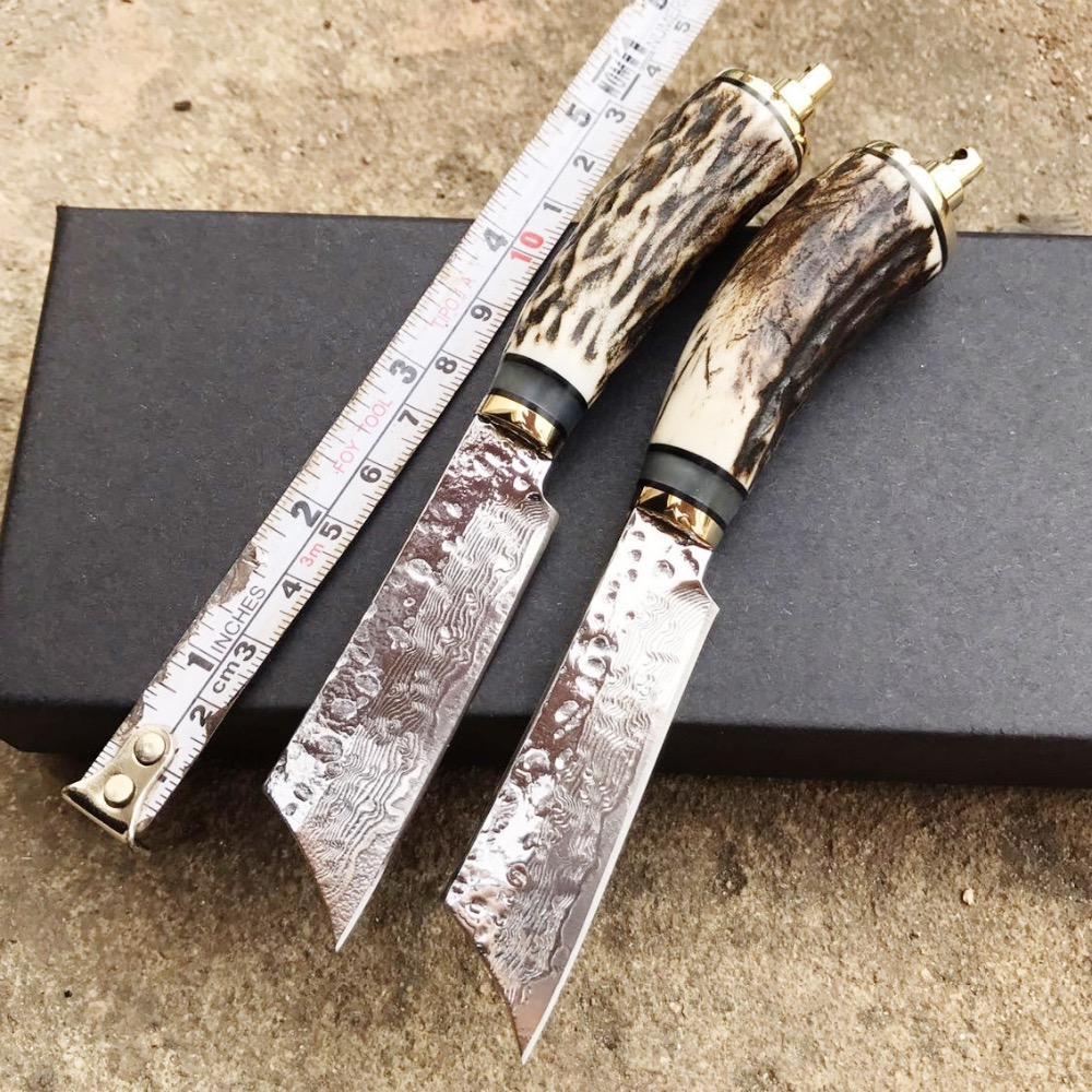 Damascus Steel hunting knife fixed blade camping knife with  Antlers handle straight  knife survived  camping tool damascus handle hunting knife
