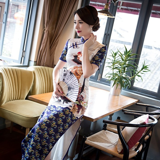 f0347480c 2017 Traditional Chinese Dress Cheongsam Vintage Short Sleeve Print Qipao  Long Evening Dress Chinese Clothing Store