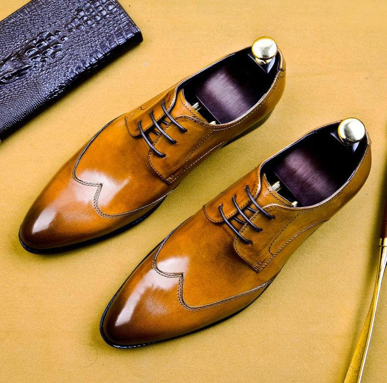 vestido sapatos masculinos genuíno couro vaca terno