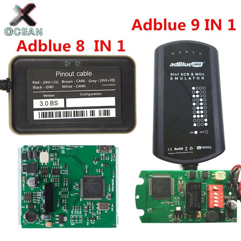 Adblue Emulator Adblue OBD2 8 EM 1 V3 Sensor De Nox Adblue 9 EM Ad 1 Sem Necessidade de Qualquer Software Universal azul Para 9 Caminhões Frete Grátis