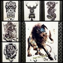 Fight Lion King Temporary Tattoo Sticker For Men Body ARM Art Flash Tattoo Women 21x15CM Beast Waterproof Transfer Fake Tatoo