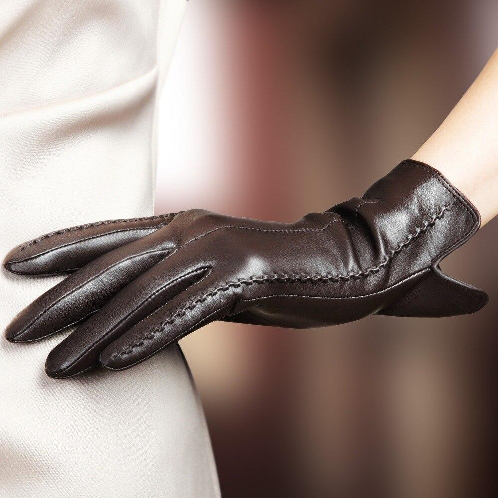 Image 2 - Женские перчатки из натуральной кожи женские новые стильные теплые плюшевые с подкладкой осень зима овчина вождения варежки L085NC4-in Женские перчатки from Аксессуары для одежды on AliExpress - 11.11_Double 11_Singles' Day