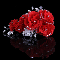 Pink Beige Blue Flower Clip With Exquisite Wedding Bridal Rhinestone And Pearl Flower Headpieces Women