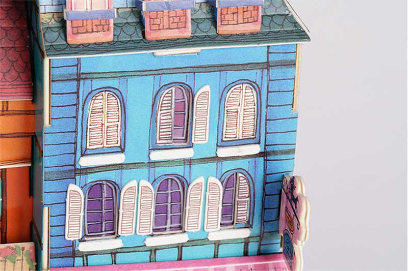 Robotime DIY New Perdido em Colmar Casa de Boneca com Luz Led Crianças Adulto Casa De Bonecas Em Miniatura Modelo de Construção De Madeira Brinquedo SJ401