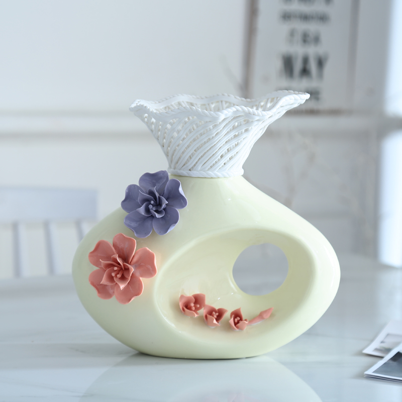 green yellow kneading ceramic craft vase ornaments modern table room decorations porcelain flower arrangement literary figurinegreen yellow kneading ceramic craft vase ornaments modern table room decorations porcelain flower arrangement literary figurine