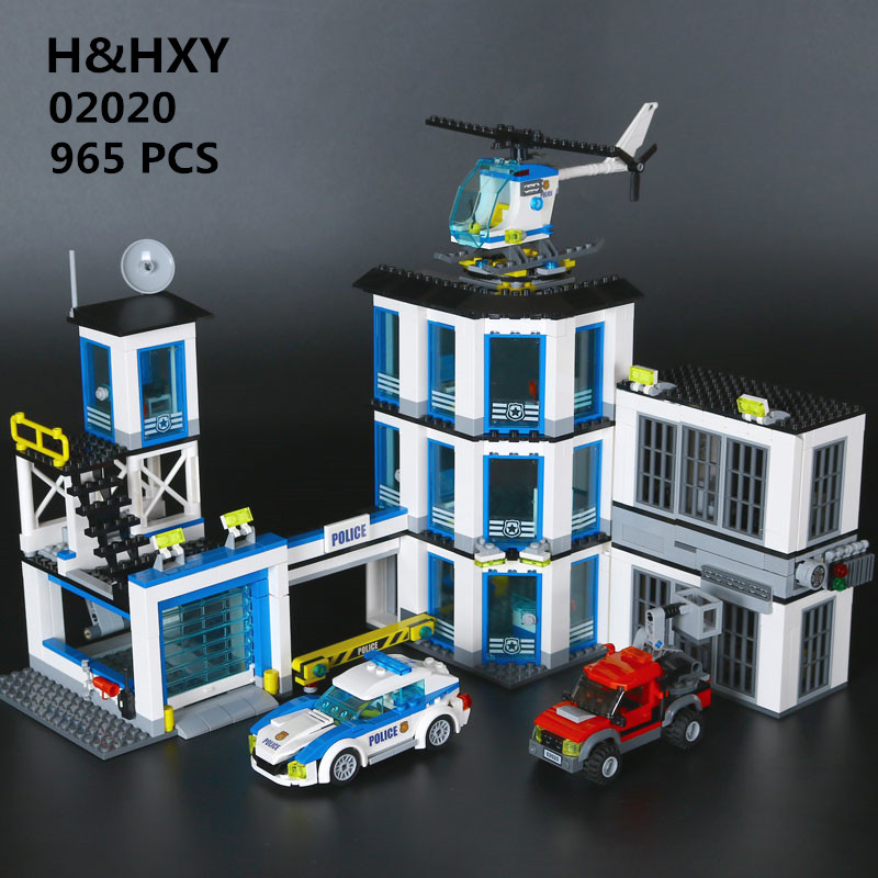H&HXY 02020 City Series The New Police Station Set children Educational Lepin Building Blocks Bricks Boy Toy Model Gift 60141 lepin 02006 815pcs city police series the prison island set building blocks bricks educational toys for children gift legoings