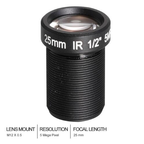 Rikovos HD 5.0Megapixel 25mm CCTV Lens 1/2 For HD CCTV Camera Lens ip camera lens F2.4 M12 Mount Long Viewing Distance Upto 50m цена