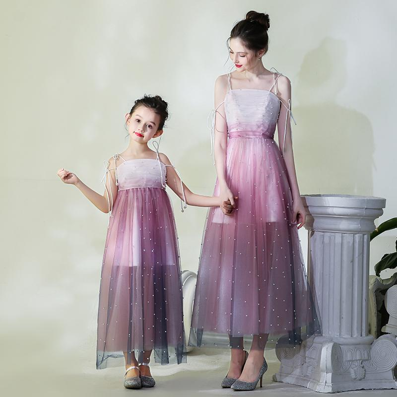 3645e431 Mother Daughter Runway Dress Flower Girls Pearl Evening Ball Gown Mom and Me  Tulle Wedding Dress Family Matching Outfits Vestido