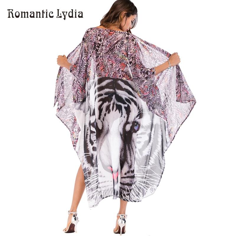 Women Boho Cardigan   Blouse     Shirts   Tops Animal Print Chiffon Beach Cover up Kimono Cardigan Female