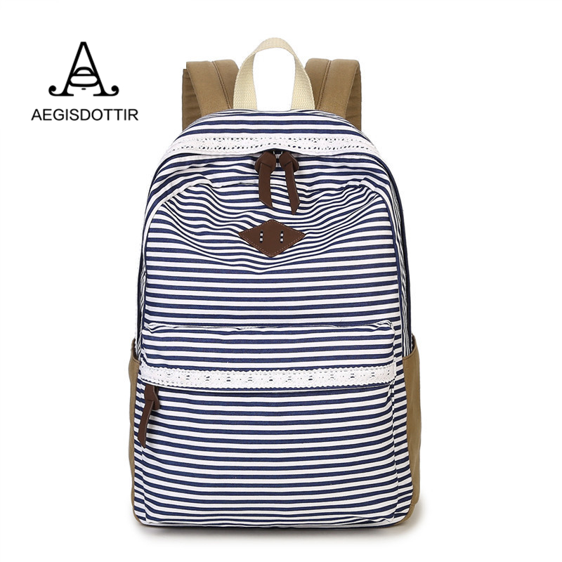Lace Stripe Ethnic Women Backpack for School Teenagers Girls Stylish Ladies Bag Backpack Female Dotted Printing High Quality stylish multicolor stripe pattern bucket hat for women
