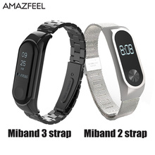 Bracelet for Xiaomi Mi Band 2 Miband 2 Strap Screwless for Xiaomi Mi Band 3 Strap Metal Stainless Steel MiBand 3 Wrist Band Belt