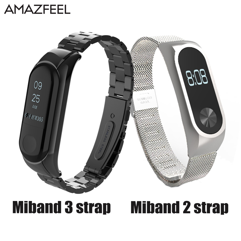 Bracelet for Xiaomi Mi Band 2 Miband 3 Strap Screwless Xiaomi Mi Band 3 Strap Metal Stainless Steel MiBand 3 Correa Wrist Band tpu band with white round dot for xiaomi miband 1s