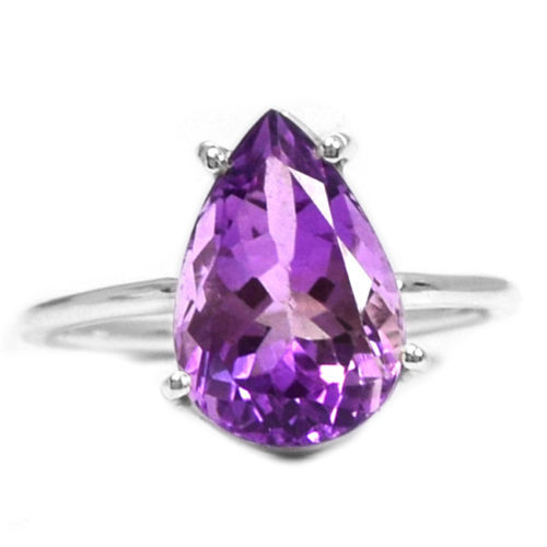 Nature Amethyst Ring 100% 925 Sterling Silver, 3.8g, Size:9, AR0281