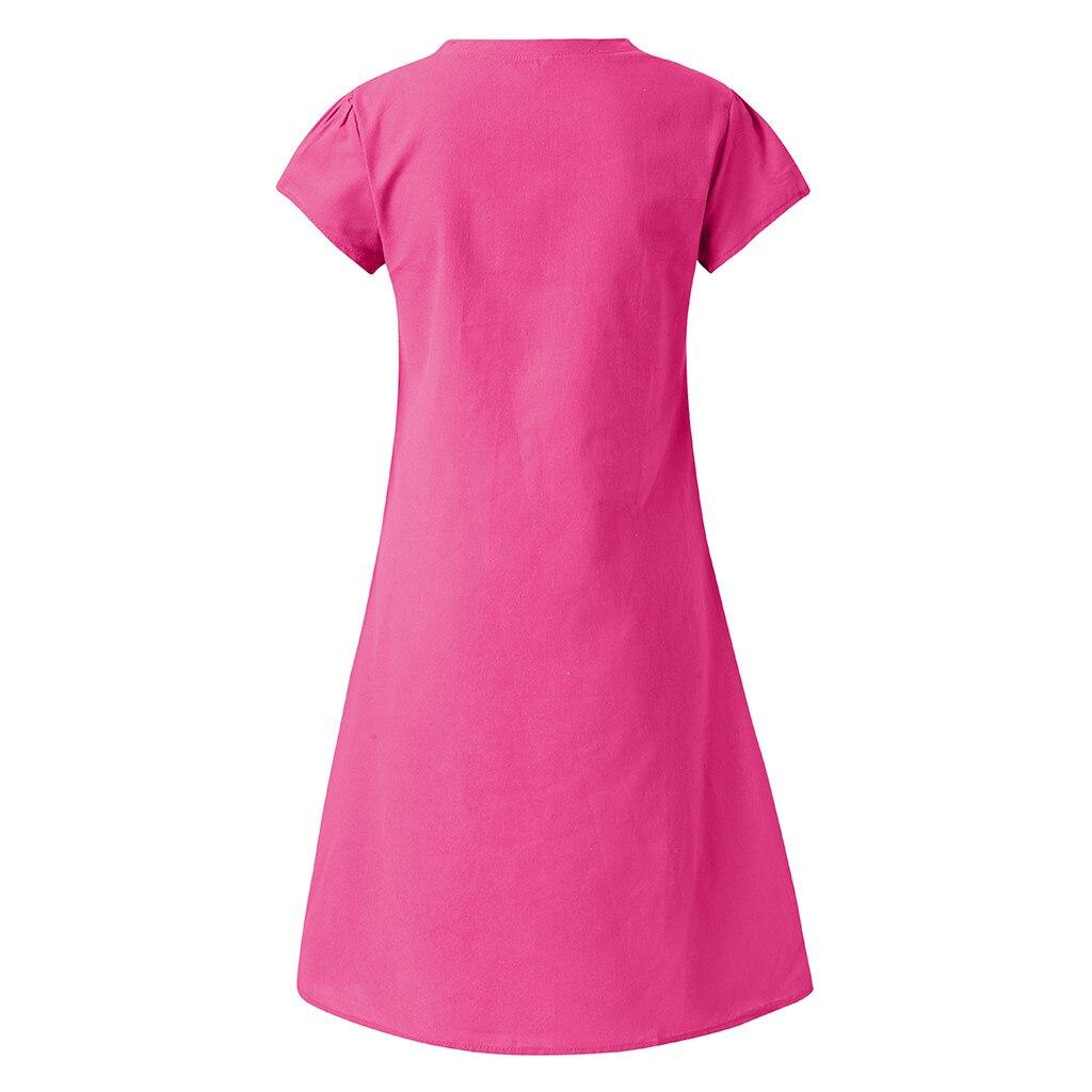 Robe bohème coton lin grande taille fushia de dos