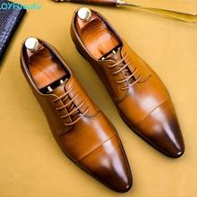 Fashion Men Dress Shoes Formal Business Work Genuine Leather Pointed Toe For Man Luxury Designer Oxford Flats US 11.5 цены онлайн