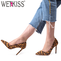 WETKISS Stiletto Heel High Pumps Women Sexy Leopard Pumps Pointed Toe Shoes Female Shallow Party Shoes Ladies Autumn 2020 New