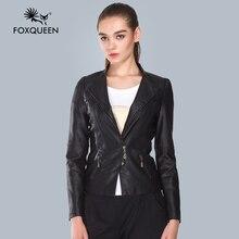 Foxqueen 2016 Leather Jacket Women Black Plus Size Sale 5XL Leather Clothing Motorcycle Women Spring New Women Outerwear Jacket