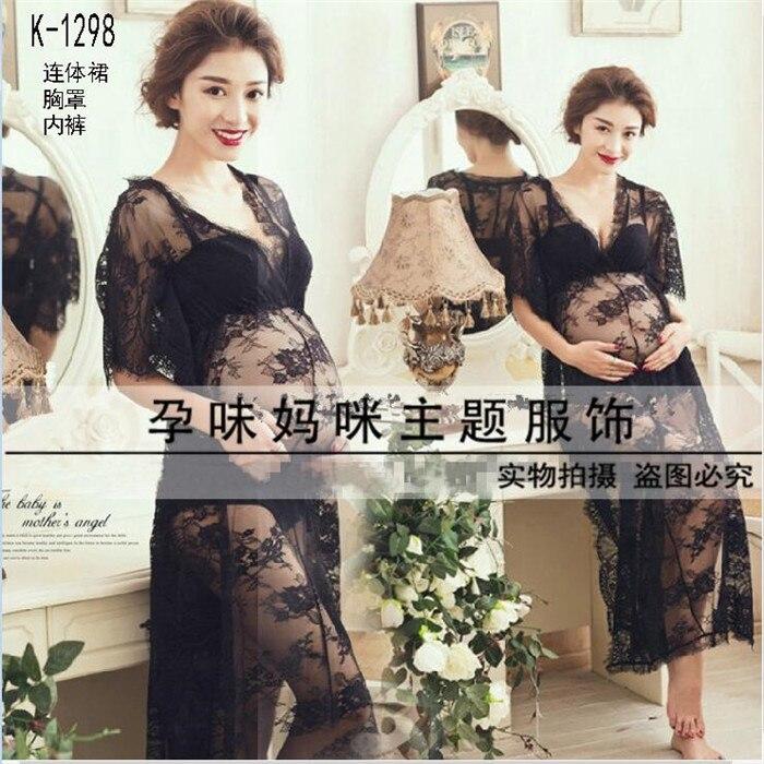 ФОТО Big sale Maternity Pregnant Women Photography Props Black Lace Beautiful Dress Elegant SeethroughPhoto Shoot Baby shower Romatic