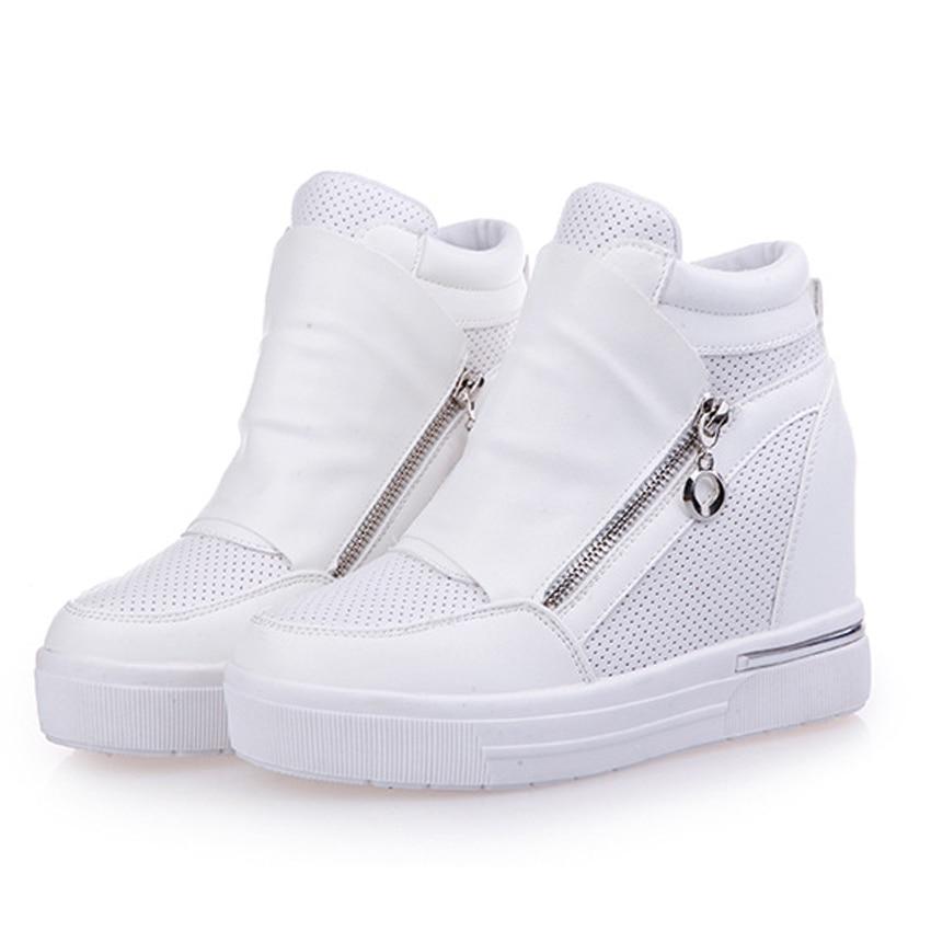 free shipping shoes woman casual shoes zipper increasing heel zapatos de tacon alto black shoes casual zapatillas mujer 57