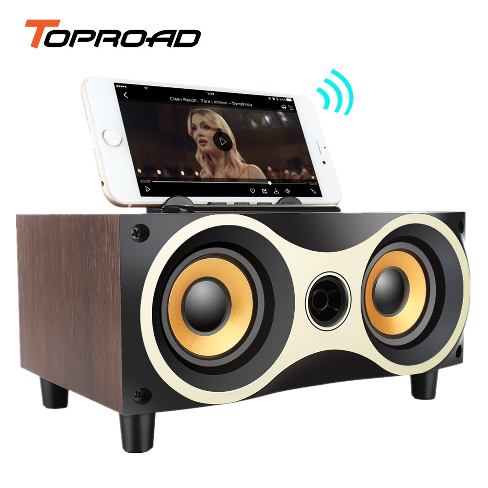 TOPROAD Wooden Bluetooth Speaker Wireless Stereo Dual Bass Louderspeaker Support Radio TF AUX Handsfree for iPhone