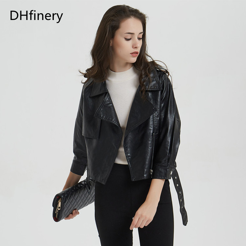 DHfinery   Leather   Jacket Women 2019 spring and autumn short section slim motorcycle jacket P-1892