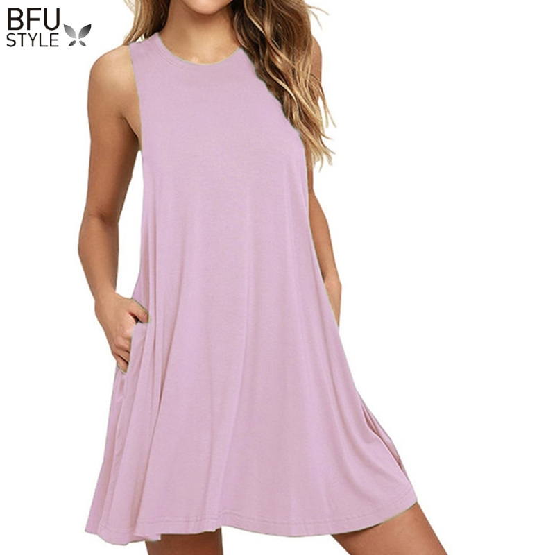 2020 Summer Dress Women Plus Szie Mini Dress Sleeveless Boho Short Beach Dress Black Red Sundress Casual Shift Dresses Vestidos