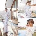 Sexy con cinturón de Metal de 2014 Julie Vino sirena manga larga vestido de boda del vestido nupcial opacidad encaje por encargo de la nueva llegada