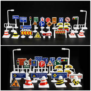 Toy-Game Car-Toy-Accessories Road-Signs Traffic Play Kids Children Cute 28pcs Learn New-Style