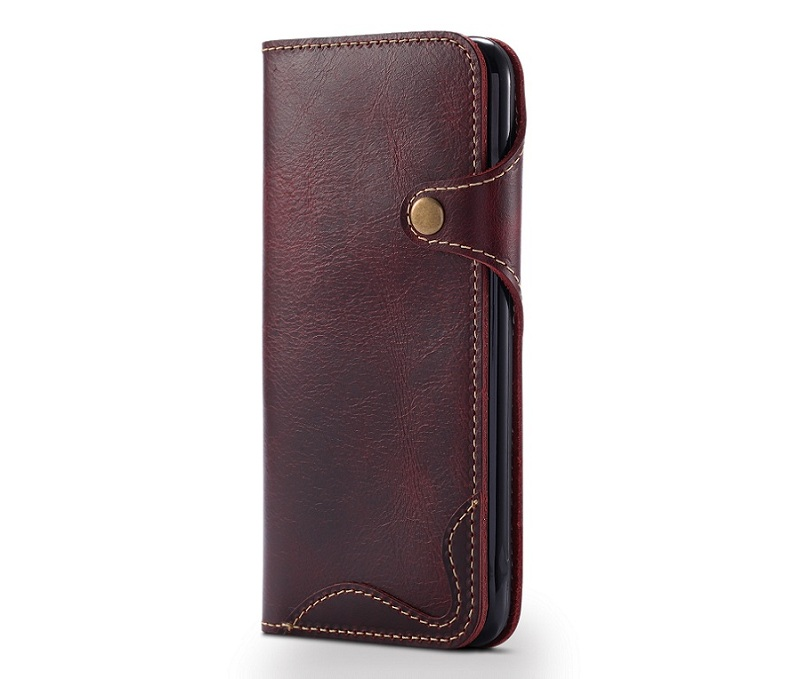 wine red genuine leather flip case for iphone 6 plus luxury card wallet phone cases