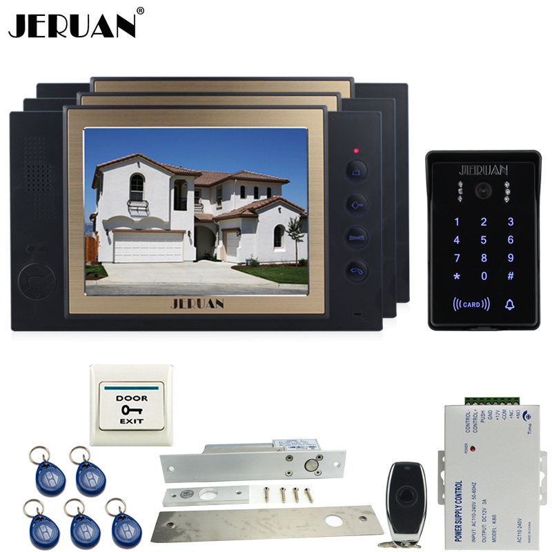 JERUAN Wired 8`` video doorphone Record intercom system kit 3 monitor New RFID waterproof Touch Key password keypad Camera 8G SD jeruan 8 inch tft video door phone record intercom system new rfid waterproof touch key password keypad camera 8g sd card e lock