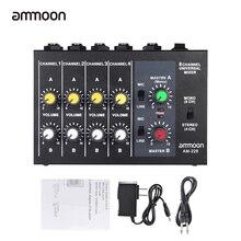 Ammoon AM-228 믹싱 콘솔 초소형 저잡음 8 채널 오디오 사운드 믹서 전원 어댑터 케이블이있는 모노 스테레오 믹서
