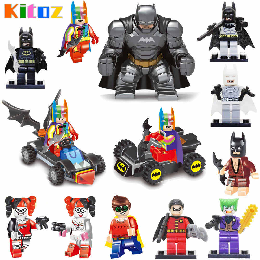 Kitoz Avenger Super Hero Batman Armor Blue Gray White Robin Joker Harley Quinn Toy Figure Building Block Compatible with Lego