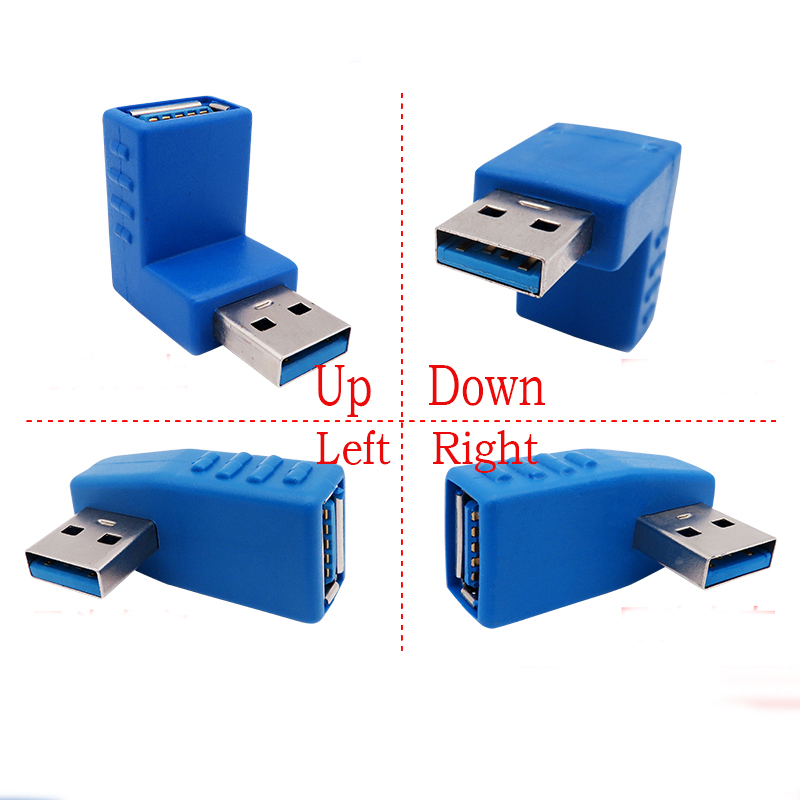 90 Degree Left Right Up Down Angled USB 3.0 A Male To Female Adapter Connector For Laptop PC Computer  Drop Ship