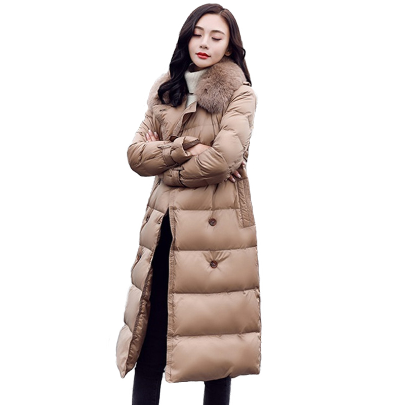 Winter Parkas for Women   Down   Jacket Long   Coat   Thicken Big fur collar Double-breasted White duck   down     Coats   Female Plus size H651