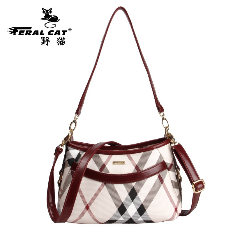 FERAL CAT Women Messenger Bags Hobos Panelled Plaid PVC Cluth Shoulder Bag Hobos Pillow Handbags Sac Femme Luxury Brands Ladies feral cat women shoulder messenger bags 2017 pvc plaid ladies plaid clutch handbags vintage crossbody envelope bag female bolso