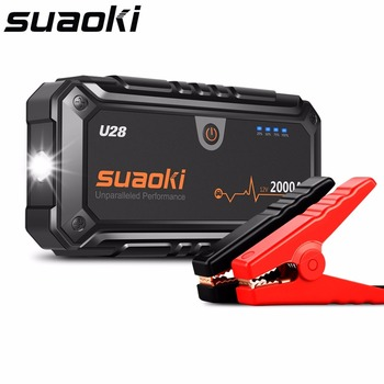 Suaoki U28 2000A Peak Jump Starter Pack with Dual USB Power Bank LED Flashlight Smart Battery Clamps for 12V Car Boat