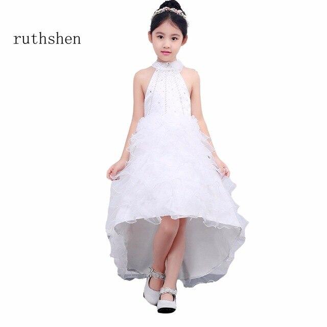 1058039bc ruthshen High Neck Flower Girl Dresses New Girls Wedding Party ...