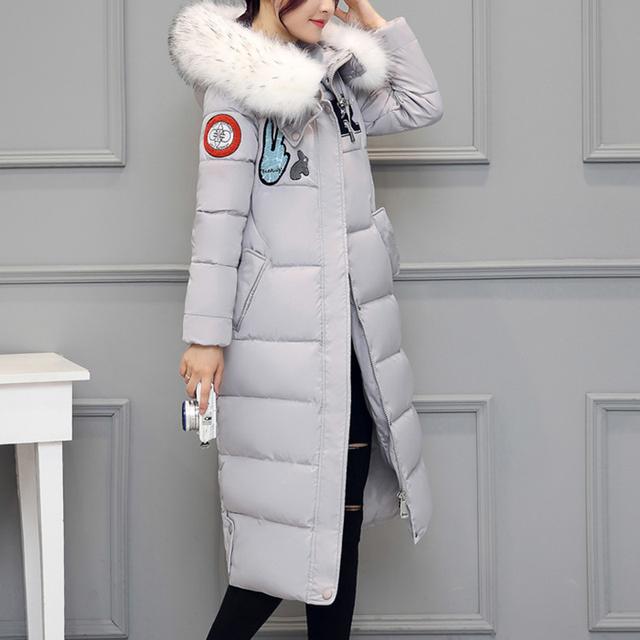 Foxqueen 2017 novo inverno de espessura mulheres longa com capuz casuais casaco de algodão para baixo moda parka fêmea de alta qualidade frete grátis 10111