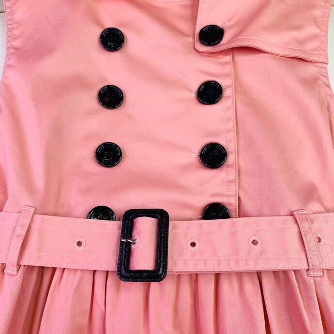 2019 nouveau été rose double boutonnage polocol filles robe fête formelle haute qualité Boutique enfants robes pour filles 6 8 10 12Y - 5