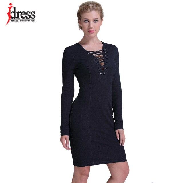 buy popular c579d acb43 US $18.34 |IDress Real Photo Vestito Denim 2017 Ucraina Invernale Manica  Lunga Vestito Aderente Signore Eleganti Dei Jeans Vestito Casuale Vestidos  ...