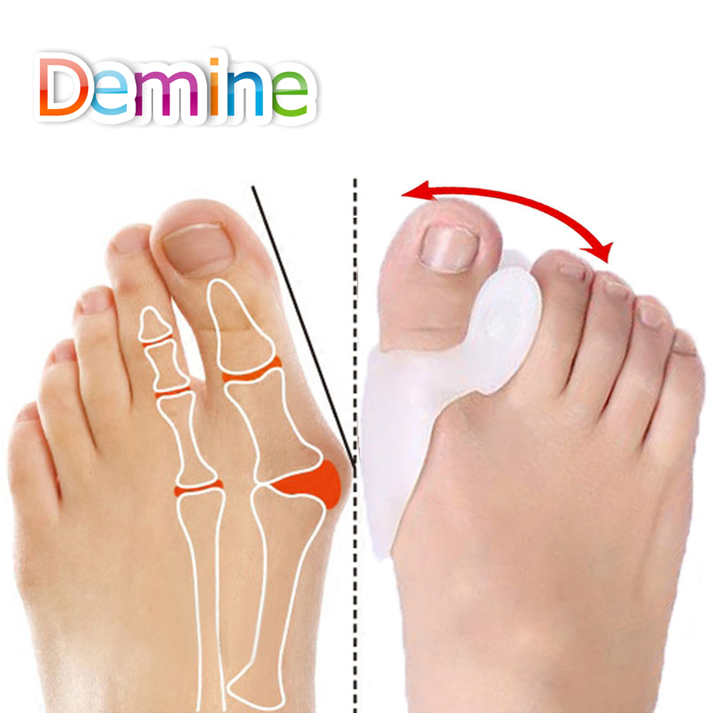 Demine Silicone Gel Toe Separator Straighter Thumb Toe Hallux Valgus Orthosis Foot Protector Toe Tube Sleeve Pedicure Toe Insert