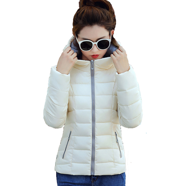 2018 stand collar hooded winter jacket women solid  female padded jaqueta feminina inverno short outerwear autumn coat parka