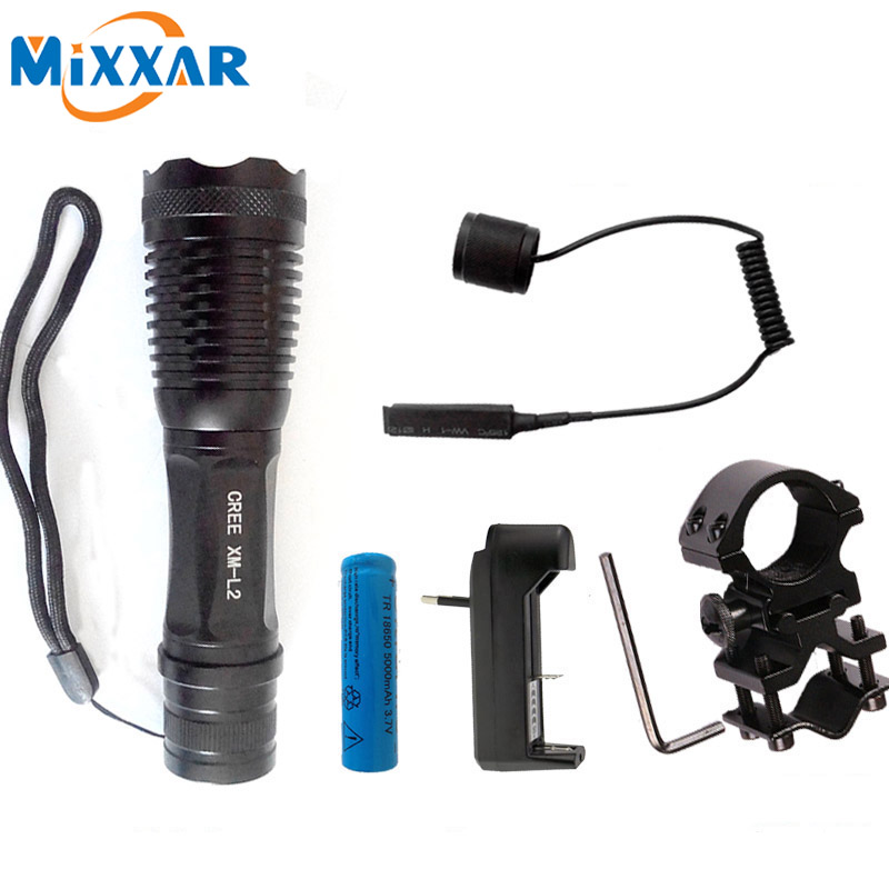 Ezk30 CREE XM-L2 9500Lm led tactical flashlight Adjustable torch for Hunting with Pressure Remote Switch and Gun Mount brinyte b58u best cree xm l2 3 colors beam led hunting flashlight torch with red green white module remote switch and gun mount