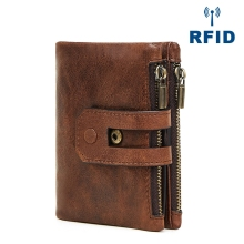 Short men Wallets Leather male Purse Card Holder Wallet Fashion man Zipper Wallet men Coin bag