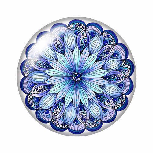 חדש כחול סגנון פרחים דפוסים 10 pcs מעורב 12mm/18mm/20mm/25mm עגול תמונה הדגמה זכוכית קרושון שטוח חזור ביצוע ממצאי ZB1015